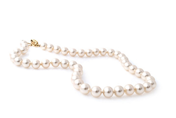 Pearl necklace isolated on white background