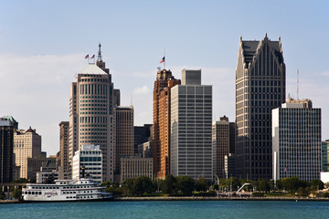 Downtown Detroit Michigan Skyline