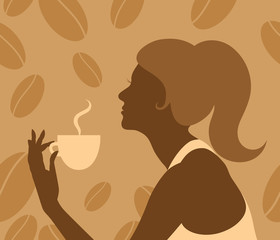 Lady drinking hot coffee