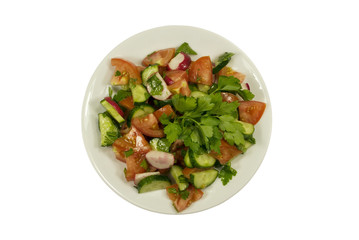 Salad with cucumbers and tomatoes