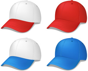Baseball Caps - realistic vector illustrations