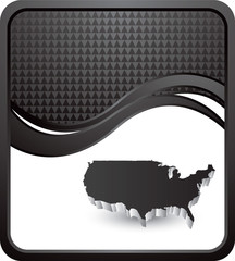 United states icon on black checkered wave backdrop