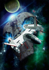 Wall Mural - spaceship chase