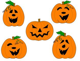 vector of pumpkins' faces set
