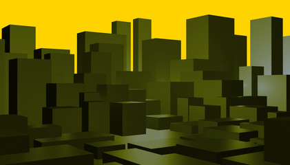Abstract green cityscape background with yellow sky