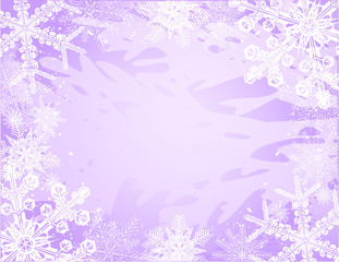 vector of snowflakes frame on purple background