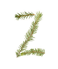 Spruce twigs forming the letter 'Z'
