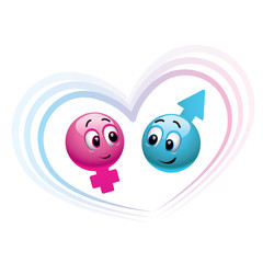 male and female smiley balls