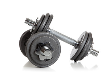 Set of Weightlifting dumbbells on a white background