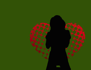 Sexy silhouette on green background