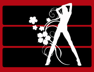 Fashion silhouette on black & red background
