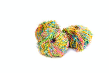 wool and knitting needles - isolated