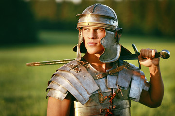 One Brave Roman soldier in field.
