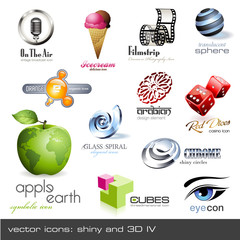 vector icons: shiny and 3d - set 4
