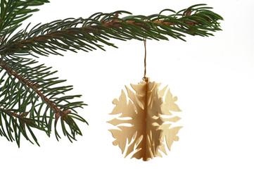 Weihnachtsbaumschmuck  Schneeflocke aus Holz