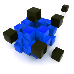 Black and blue cubic background