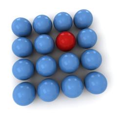 Blue and red billiard balls square