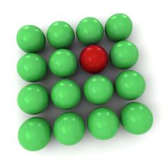 Green and red billiard balls square