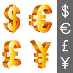 Vector currency symbols, isolated on white background.