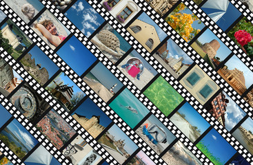 Background with travel photo filmstrips