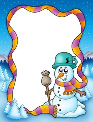 Winter frame with snowman and trees