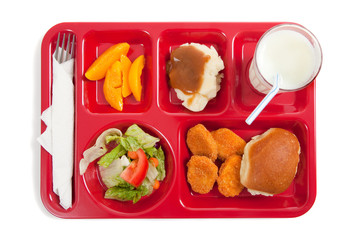 Photo sur Plexiglas Assortiment School lunch tray with food on it on a white backgrounf