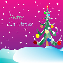 merry christmas card (purple background)