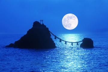 夫婦岩と満月