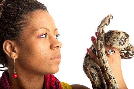 black woman with python