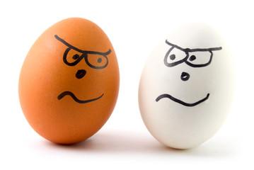 different eggs are arguing