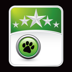 Pawprint on green star background