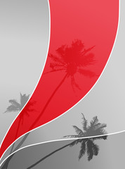 Illustration with palm trees. Vector