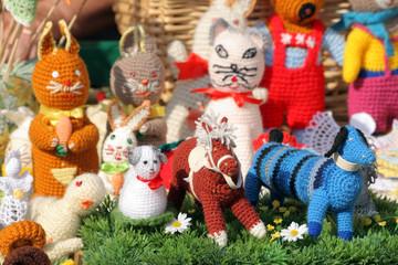 Handmade figurines at the street market