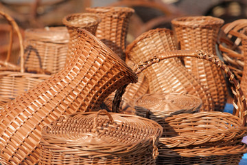 Hand made wicker baskets at the street market