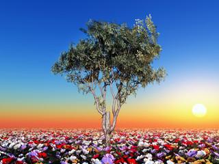 Baum mit Blumenwiese
