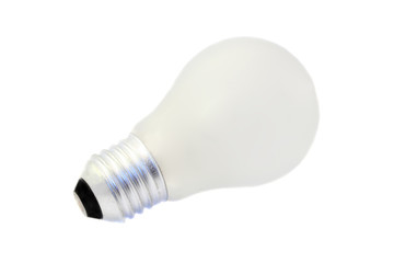 opaque white light bulb isolated on white background