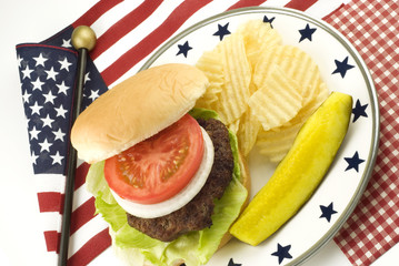 Hamburger and Potato Chips with Patriotic Theme