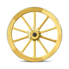 Wagon wheel. Vector illustration. Detailed portrayal.