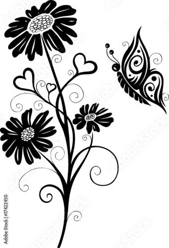 Wandtattoo, Blumen, Blüten, Schmetterlinge, Floral