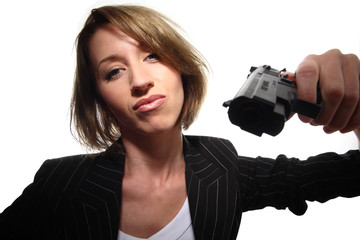 Business Frau mit Pistole