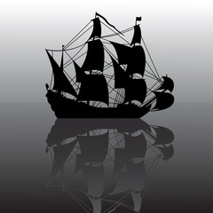 vector illustration of sailboat silhouette with reflection