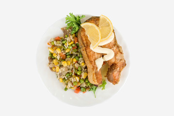 Red fish rice and vegetable