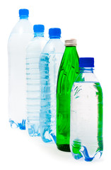 Five bottles of water isolated