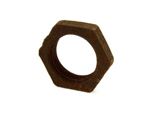 Old rusty steel screw nut