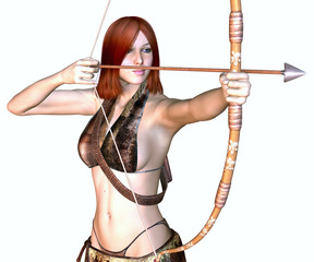 female warrior with bow and arrow