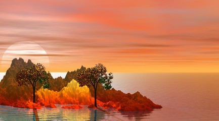 island and two trees and mountain orange and red