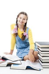 Young happy teenagergirl with books sit and smile