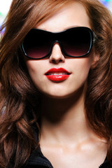 Beauty glamour woman with red lipstick