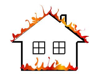 Fototapete - Burning home