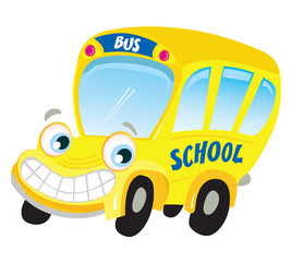 Isolated yellow school bus. Vector Illustration.